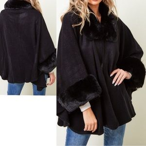 Black Shawl / Cape With Faux Fur Detail Size S/M